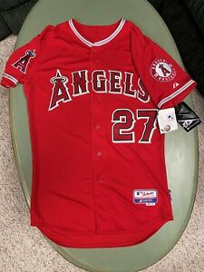 Mike Trout Los Angeles Angels Authentic Cool Base Red Jersey Size 40