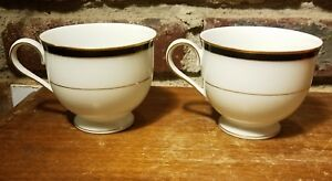 Mikasa PEARL BLACK Footed Cup set of 2, L9577, Gold trim, Excellent