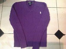 Ralph Lauren Girls Purple Cable Knit Jumper Size L