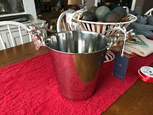 """TOMMY BAHAMA DOUBLE DEER HEAD SILVER METAL CHAMPAGNE ICE BUCKET 8""""H X 8""""W NWT"""