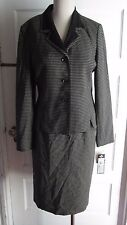 NWT Kasper ASL Checked Skirt Jacket Blazer Suit Set Outfit Womens 8 Black Career