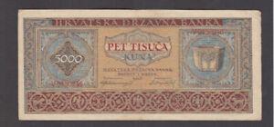 5000 KUNA VERY FINE BANKNOTE FROM NAZI GOVERNMENT OF CROATIA 1943 PICK-13