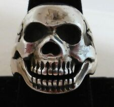 STERLING SILVER BIKER'S SKULL RING MOVEABLE JAW SIZE 9.5 PRETTY AWESOME