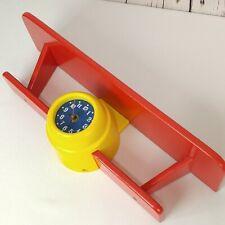 Airplane Biplane Clock Wall Shelf Kids Child Room Nursery Aviation Decor Red