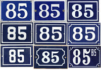 Old blue French house number 85 door gate wall fence street sign plate plaque