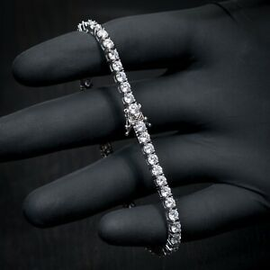 Silver White Gold Plated Solitaire Cz Iced 4mm Tennis Chain Bracelet For Men