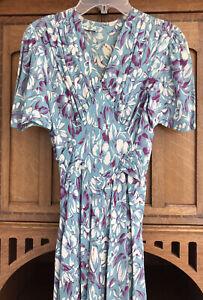 Vintage 1940s V Neck Crepe Knee Length Dress Blue Ivory Floral Plum Size 8 10