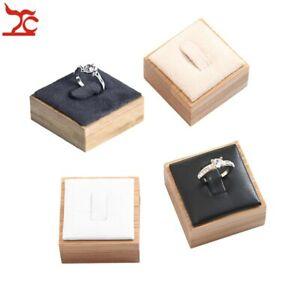 Natural Bamboo Ring Jewelry Display Stand Fashion Bague Storage Organizer Rack