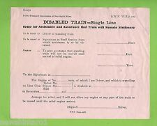 #D74.  1977 NSW  RAILWAY FORM - DISABLED TRAIN, Single Line