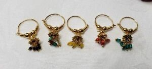 Bollywood Style Hoop Jhumki  Beaded Dangle Gold Nose Ring Nath One Piece