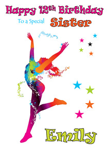 Dance personalised A5 birthday card - any NAME AGE RELATION