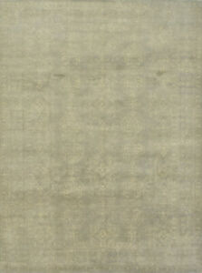 Modern Oushak 9'x12' Grey Wool Hand-Knotted Oriental Rug
