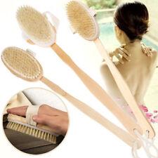 Bath Brush Long Wood Handle Reach Body Back Shower Bristle Scrubber Bathroom