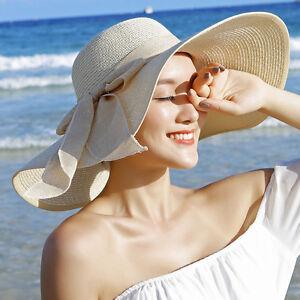 US Women's Summer Bow Large Floppy Folding Wide Brim Cap Sun Straw Beach Hat New