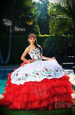 New Red&white Quinceanera Dresses 2017 Ball Gown Embroidery Bridal Gown