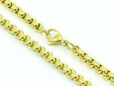 """Mens Womens Link Chain Rolo Necklace Stainless Steel 316L 30"""" 4mm 36g Gold-Tone"""