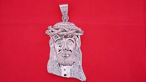 Jesus Face Pendant Charm 4 Carat Diamonds Solid White Gold 10k Best Deal Classy