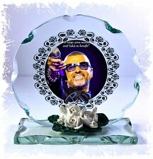 George Michael Photo Cut Glass Round Plaque Purple Mood Limited Edition #4