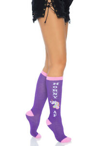 Leg Avenue purple Horny AF knee socks