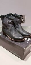 COOLWAY GREY LEATHER SLOUCHY PIXIE BOOTS.