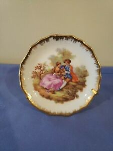 Limoges France small Plate With Hand Painted Courting Couple Gold Trim