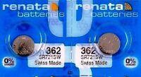 362 RENATA WATCH BATTERIES SR721SW (2 piece) New packaging Authorized Seller