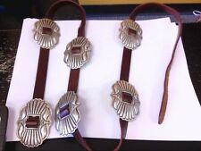 Vintage Native American Sterling Silver Handmade Conchos Belt. NICE SHAPE!