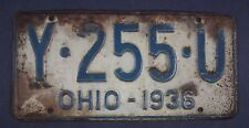 1936 Vintage Original Ohio License Plate Y-255-U