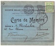 BELGIQUE- CARTE DE MEMBRE D OTO RHINO DESTINATION  REIMS ANNEE 1911