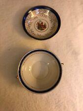 epiag royal czechoslovakia & 12 Carat Gold Plate Fruit Bowl Blue White China