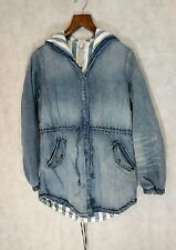 Guess x A$AP NWT Reversible Striped Denim Hooded Parka Oversize Small