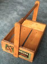 Antique Farm Garden Primitive Montana Sweet Cherries Wood Crate Gathering Caddy