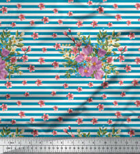 Soimoi Stoff Streifen, Blätter & Miosotis Blumen- Stoff Meterware - FL-1045E