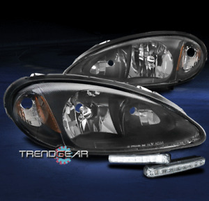 FOR 2001-2005 CHRYSLER PT CRUISER BLACK HEADLIGHT HEADLAMP W/BUMPER LED DRL LAMP