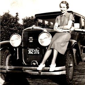 Vintage 1930s Cadillac NASH V8 Car Virginia License Plate With Girl Photo