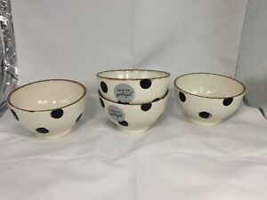 New Made In Portugal Black Polka Dot Ivory and Black Bowls Set Of 4