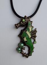 Halskette Anhänger Seepferdchen 6 cm bronzefarben grün Mode-Perle Strass *NEU*