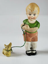 Hertwig Germany Bisque Dollhouse Miniature Boy Pet Cat or Dog on Leash 3 Inches