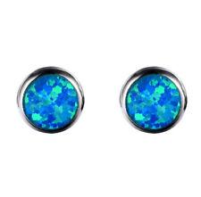 Opal 925er Sterlingsilber Rund Ohrstecker Blau Weiß Ohrringe Ohrschmuck NEU