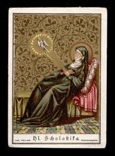 antico santino cromo-holy card S.SCOLASTICA poellath
