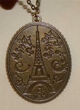 Handsome Ripple Ridge Brasstone Etch Eiffel Tower France Paris Pendant Necklace