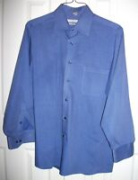 Geoffrey Beene WRINKLE FREE L/S Button Front Shirt Blue Pinstripe ~ L 16 32/33