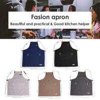 Men Women Cooking Kitchen Restaurant Chef Adjustable Bib Apron Dress with Pocket