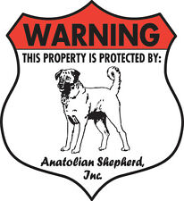 Warning! Anatolian Shepherd Property Patrolled Aluminum Dog Sign - Badge Shape