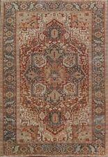 Antique Geometric 9'x13' Heriz Serapi Vegetable Dye Wool Area Rug Living Room