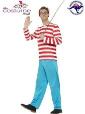 Licensed Wheres Wally Costume Top Trousers Hat Glasses Where's Wenda