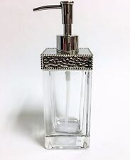 NEW CLEAR GLASS+TEXTURED METAL SILVER METALLIC ACCENT+PUMP LOTION,SOAP DISPENSER