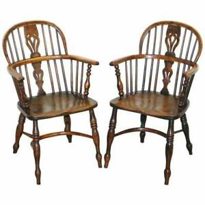 PAIR OF BURR YEW WOOD & ELM WINDSOR ARMCHAIRS CIRCA 1860 ENGLISH COUNTRY HOUSE