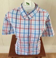 Ladies Grenouille Seersucker Cotton Short Sleeve Shirt - blue/red, Xxl