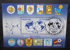 "FRANCOBOLLI BRASILE 1984 "" FIFA CALCIO SPORT MONDIALI STEMMA"" USED BLOCK (C.X)"